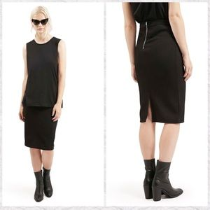 Topshop NEW Back Slit Ribbed Midi Pencil Skirt